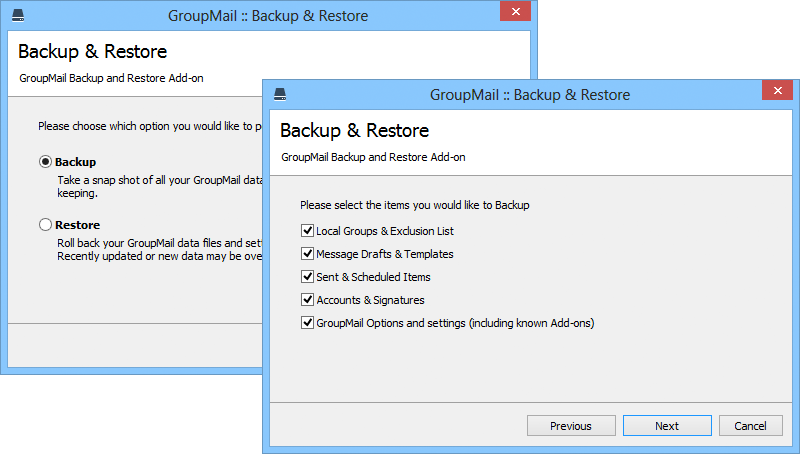 Backup & Restore keeps your data safe