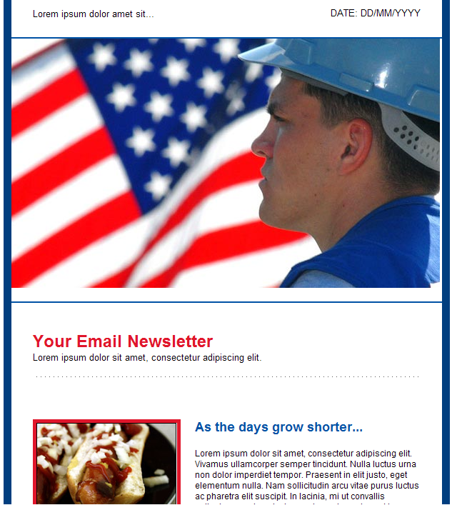 GroupMail HTML email template Labor Day