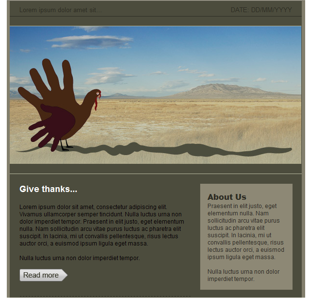 GroupMail HTML email template Thanksgiving