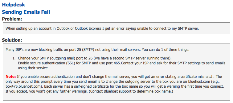 Solution for Bluehost email sending failure