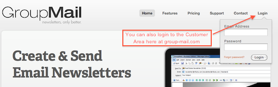 GroupMail newsletter customer area 2