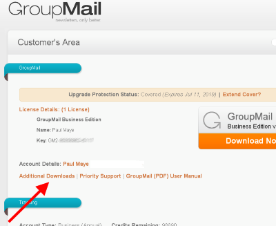 Login to GroupMail customer area