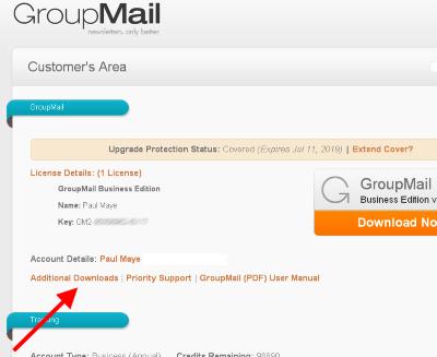 login to groupmail customer area