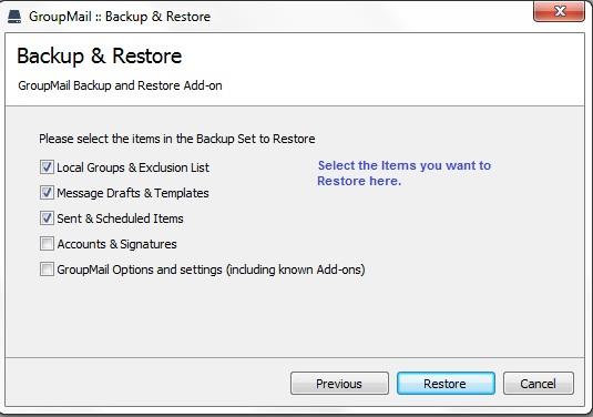 GroupMail Restore