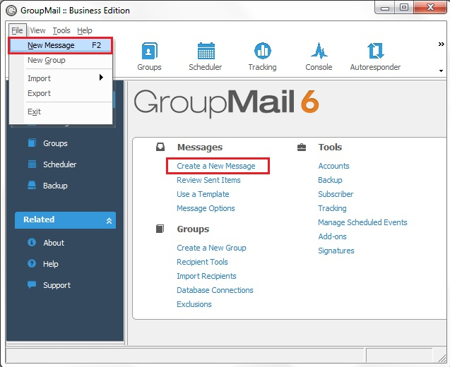 Create a New Email in the GroupMail HTML Email Editor
