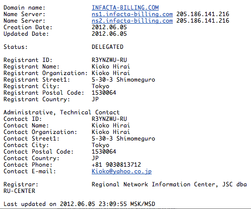 infacta-billing phishing domain information