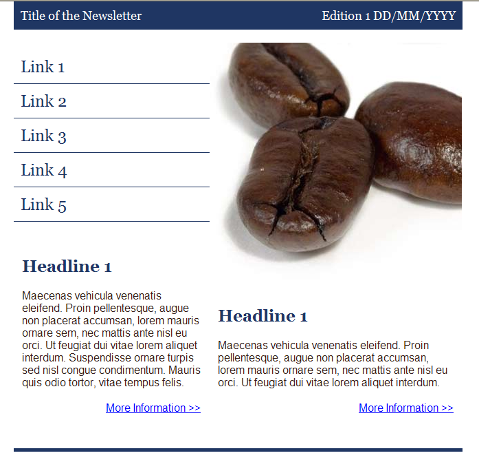 GroupMail Coffee Newsletter Email Template