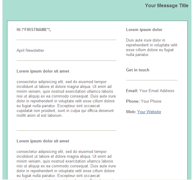 GroupMail Green Newsletter Email Template 1
