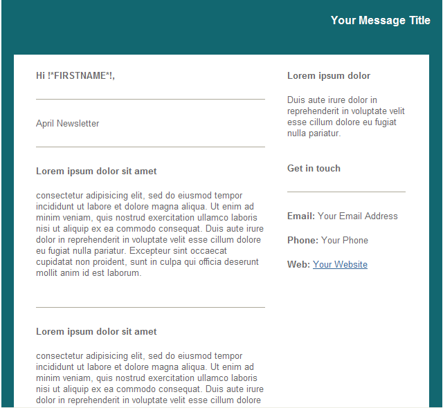 GroupMail Teal Newsletter Email Template 1