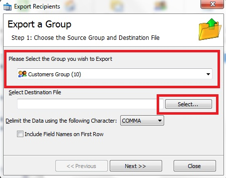 Export GroupMail Groups to different File Types