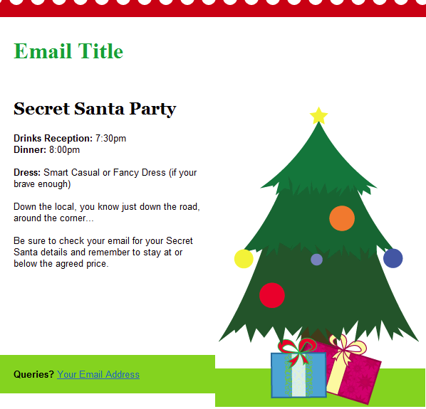 Christmas email templates included with groupmail for Secret santa email template