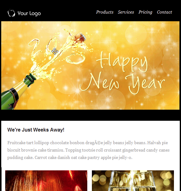 happy new year champagne email template free group email and mass