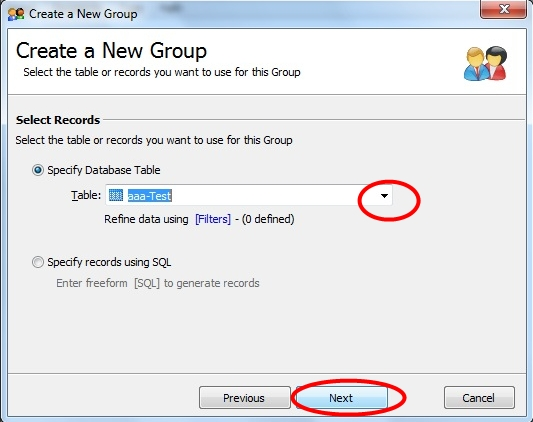 Choose Database Table from drop down list you want to use and click Next