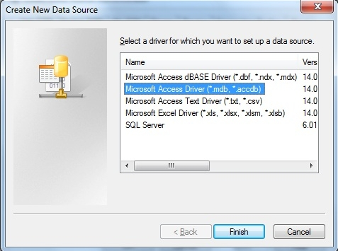 Choose Microsoft Access .accdb
