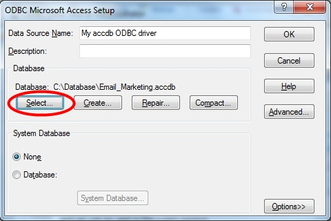 Choose Name and Select accdb Access Database file