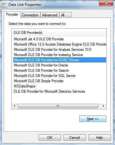 Choose ODBC Driver suitable for Access .accdb files
