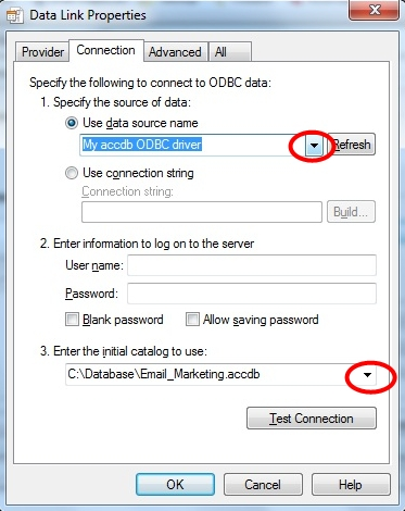 Choose data source from drop down list and choose Database from catalogue drop down list