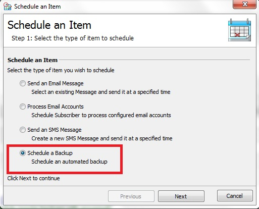 Schedule a GroupMail Backup