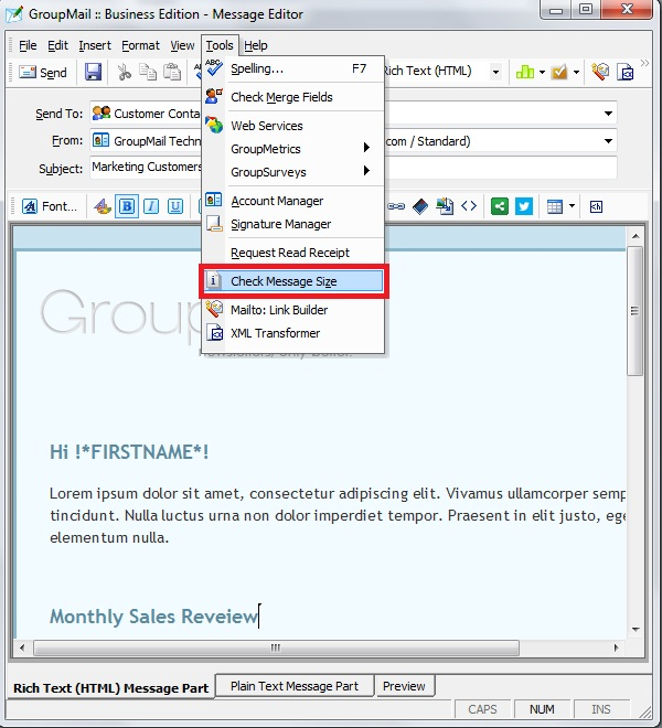 GroupMail Check Message Size - Free group email and mass email