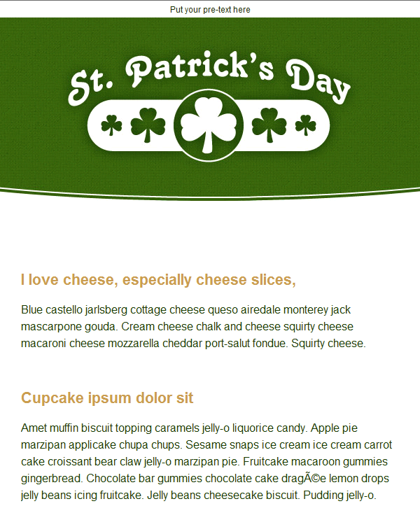 St. Patrick's Day Email Template 1