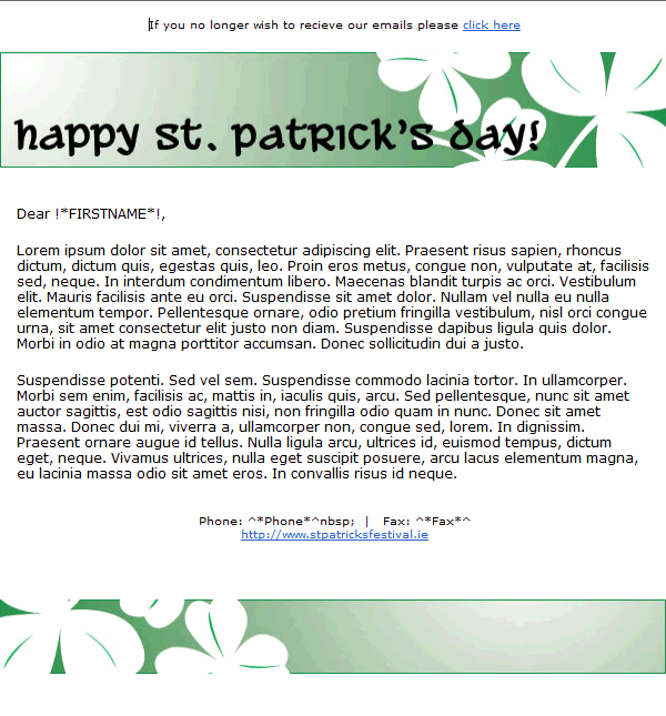 St. Patrick's Day Email Template 2