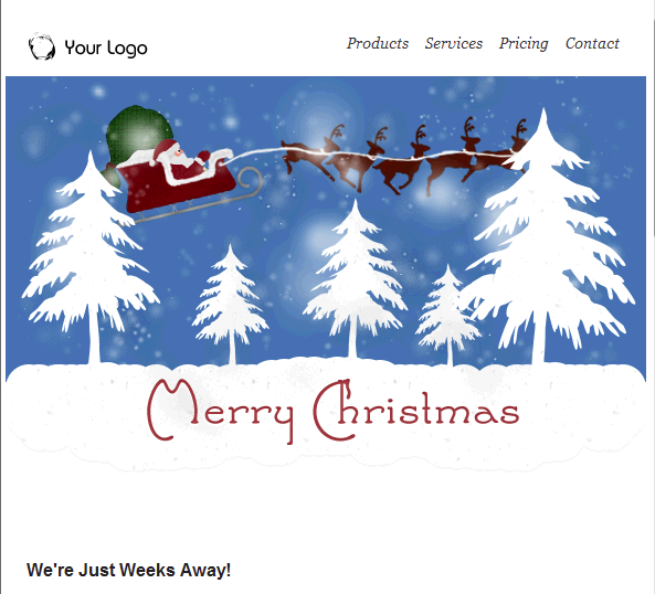 Santa & Reindeer Flying Email Template