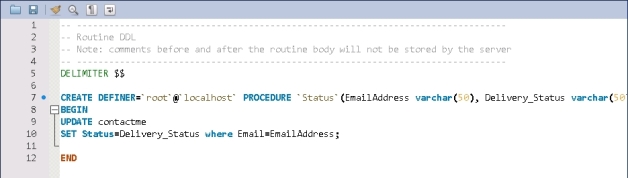 MYSQL_SP_Send_Status