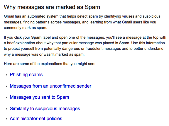 Gmail explains why email is sent to spam