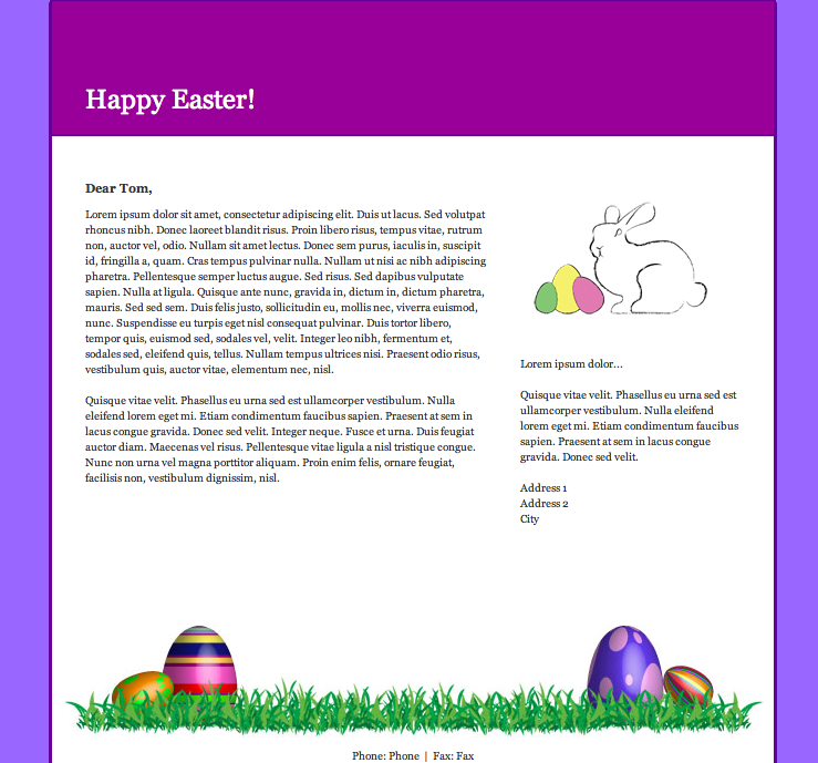 Easter Email Newsltter Template in GroupMail